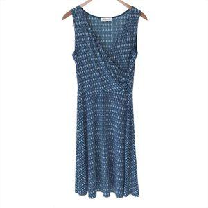 Gilli Teal Sleeveless V-Neck Fit & Flare Dress, M